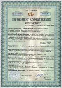 Сертификат (наполнитель -минеральная вата)